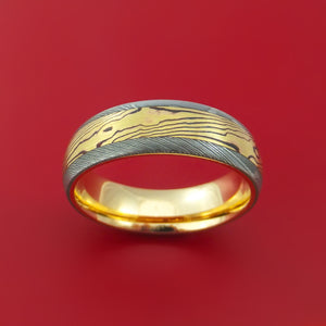 Damascus Steel Ring with 18k Yellow Gold Mokume Shakudo Inlay and Interior 14k Yellow Gold Sleeve Custom Made Band