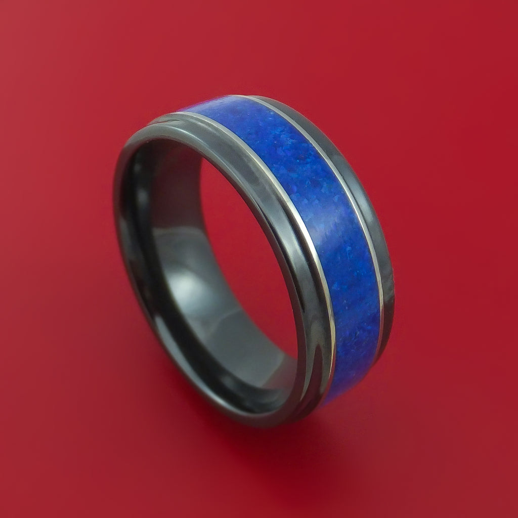 Black Zirconium and Lapis Lazuli Ring Custom Made Band