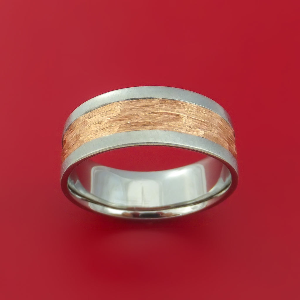 Cobalt Chrome and Rose Gold Textured Band Custom Made Ring