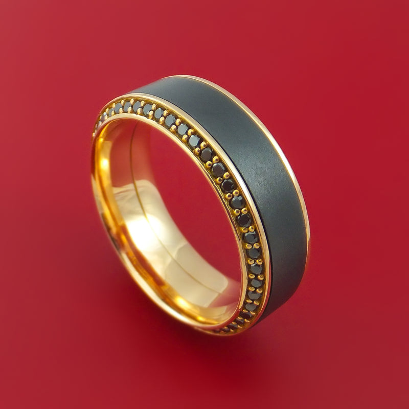 18K Rose Gold Ring with Black Zirconium Inlay and Eternity Set Black Diamonds Custom Made Band
