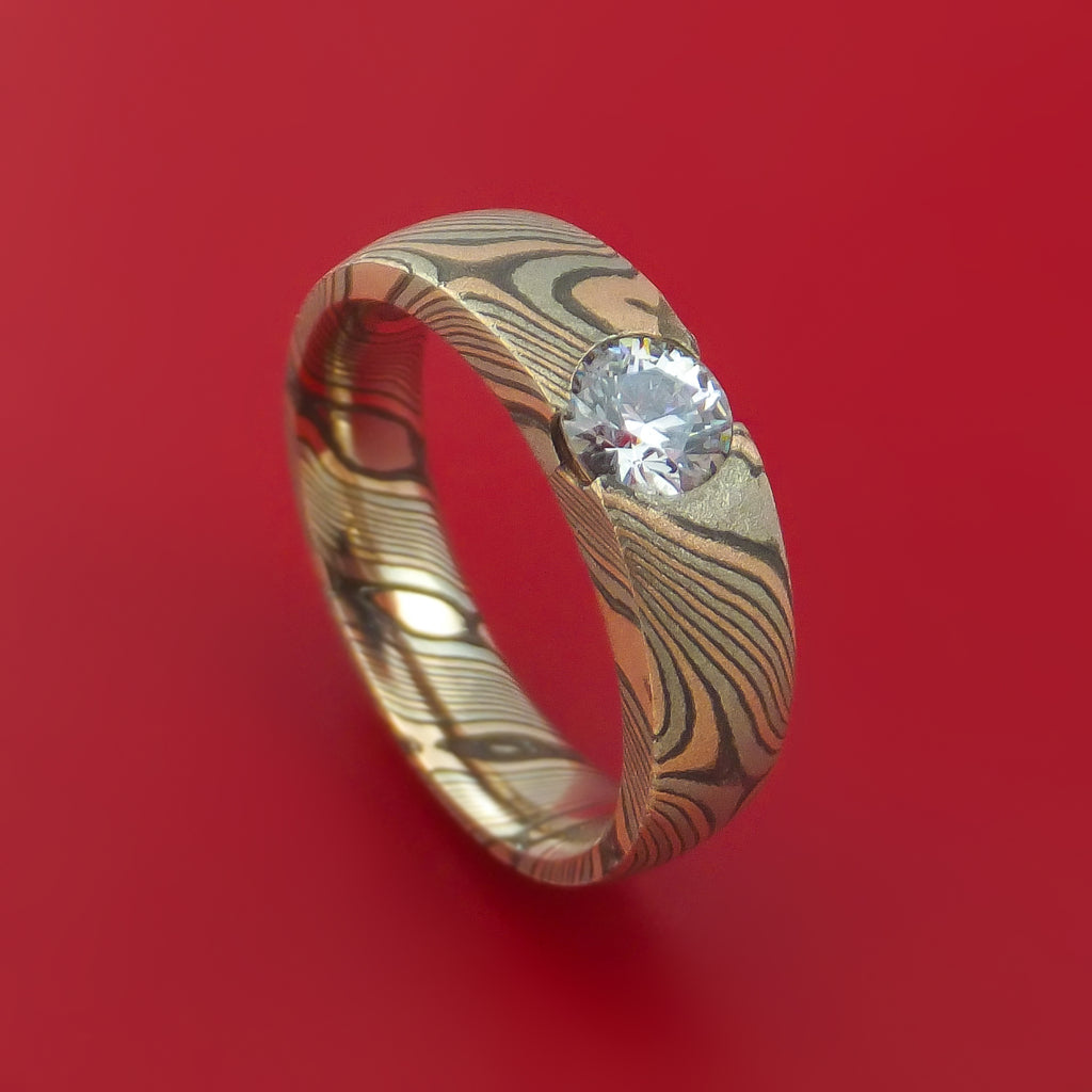 14K Rose Gold White Gold and Silver Mokume Cathedral Ring with Lannyte Custom Made