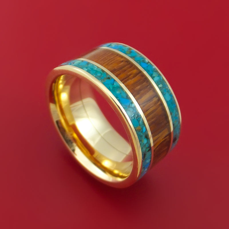 Wide 14k Yellow Gold Ring with Hardwood and Turquoise Inlays Custom Made Band