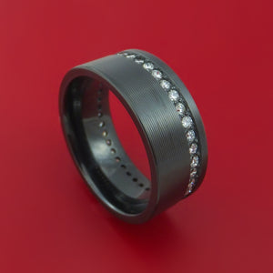 Black Zirconium and Diamonds Eternity Ring Custom Made Band