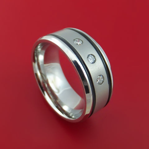 Cobalt Chrome Ring with Diamonds Custom Made Band