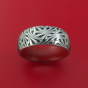 Cobalt Chrome Ring with Marble Twist Pattern Inlay and Interior Cerakote Sleeve Custom Made Band