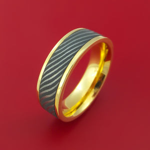 18K Yellow Gold Ring with Flat Twist Damascus Steel Inlay Custom Made Band