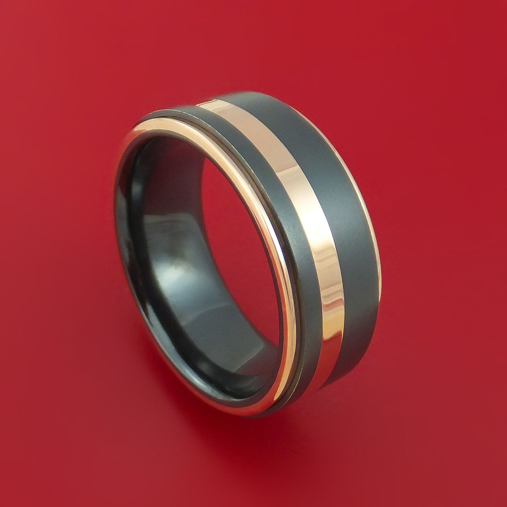 Black Zirconium Ring with 14k Rose Gold Inlay and 14k Rose Gold Edges Custom Made Band