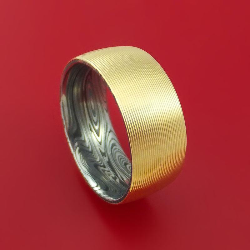 14k Yellow Gold Ring with Interior Marbled Kuro Damascus Steel Sleeve Custom Made Band