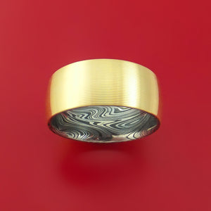 14K Yellow Gold Band with Marbled Kuro Damascus Steel Sleeve Custom Made