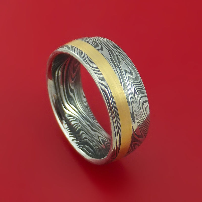 Marbled Kuro Damascus Steel Ring with 14k Yellow Gold Inlay Custom Made Band