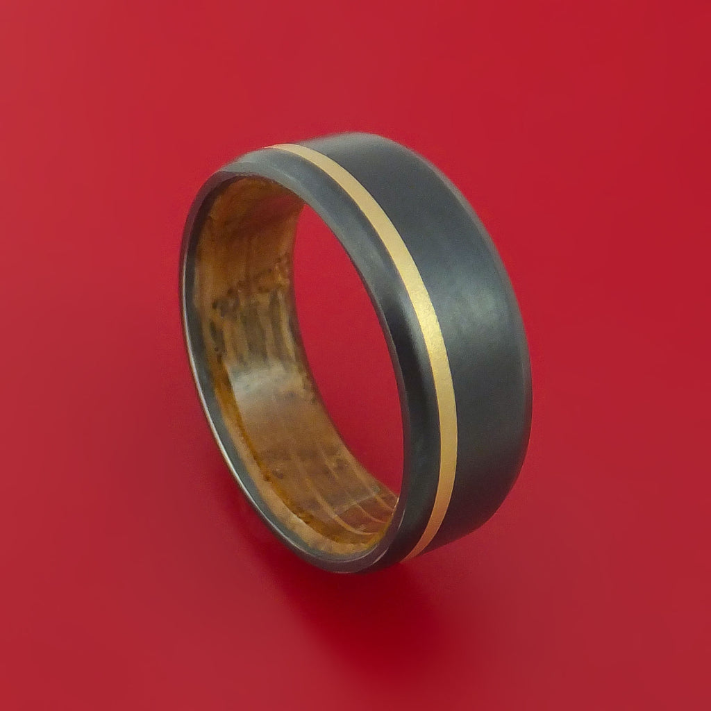 Black Zirconium Ring with 14K Yellow Gold Inlay and Hardwood Sleeve Made to Any Sizing and Finish