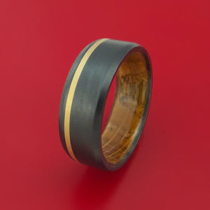 Black Zirconium Ring with 14k Yellow Gold Inlay and Interior Hardwood Sleeve Custom Made Band