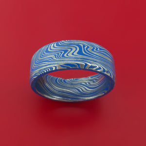 Marbled Kuro Damascus Steel Ring with Cerakote Inlay Custom Made Band