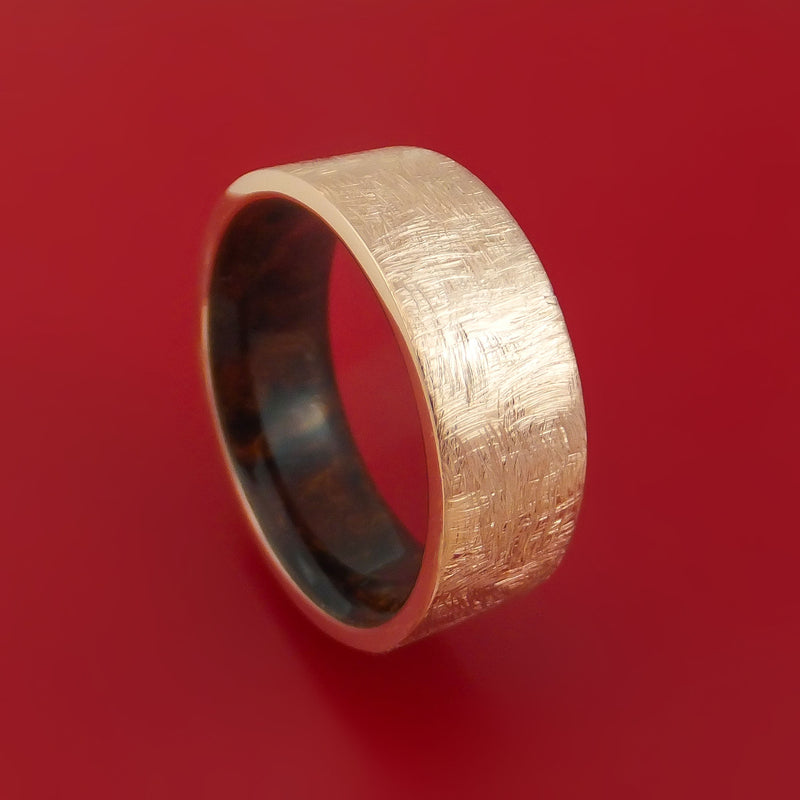14K Rose Gold Band with Distressed Finish and Desert Ironwood Burl Wood Sleeve Custom Made