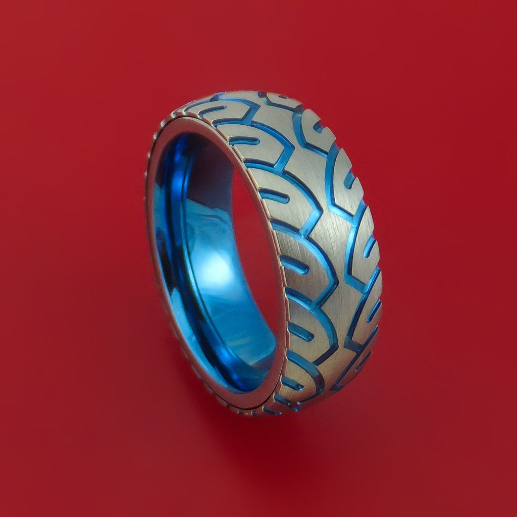 Titanium Ring with Motorcycle Tire Tread Pattern and Anodized Inlays and Interior Anodized Sleeve Custom Made Band