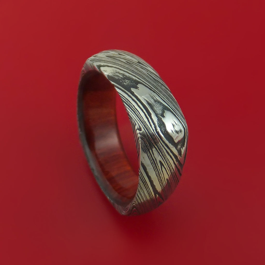 Marbled Kuro Damascus Steel Ring with Interior Hardwood Sleeve Custom Made Band
