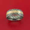 Damascus Steel Ring with Mokume Gane Inlay Custom Made Band