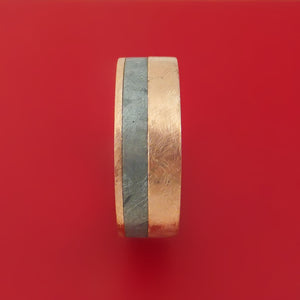 14k Rose Gold Ring with Gibeon Meteorite Inlay and Interior Hardwood Sleeve Custom Made Band