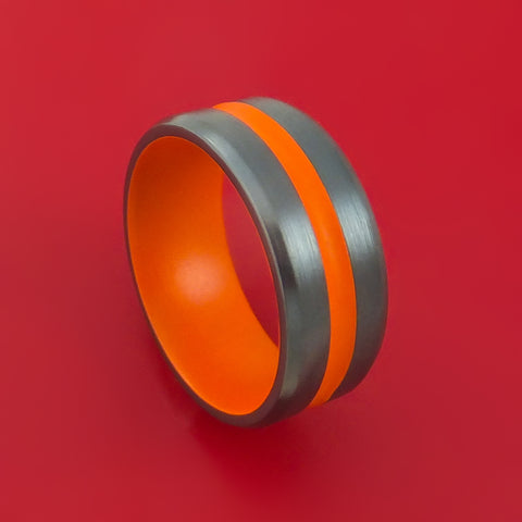 Black Zirconium Ring with Hunter Orange Cerakote Groove and Sleeve Custom Made Band