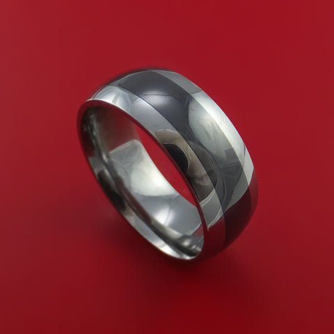 Black Ceramic Ring with Tungsten Center Durable Custom Made Ring
