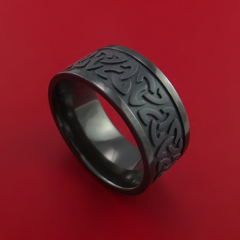 Black Zirconium Celtic Band Trinity Symbolic Wedding Infinity Ring Custom Made