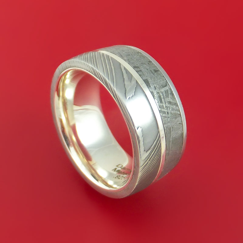 Damascus Steel Ring with Gibeon Meteorite and Sterling Silver Inlays and Interior Sterling Silver Sleeve Custom Made Band