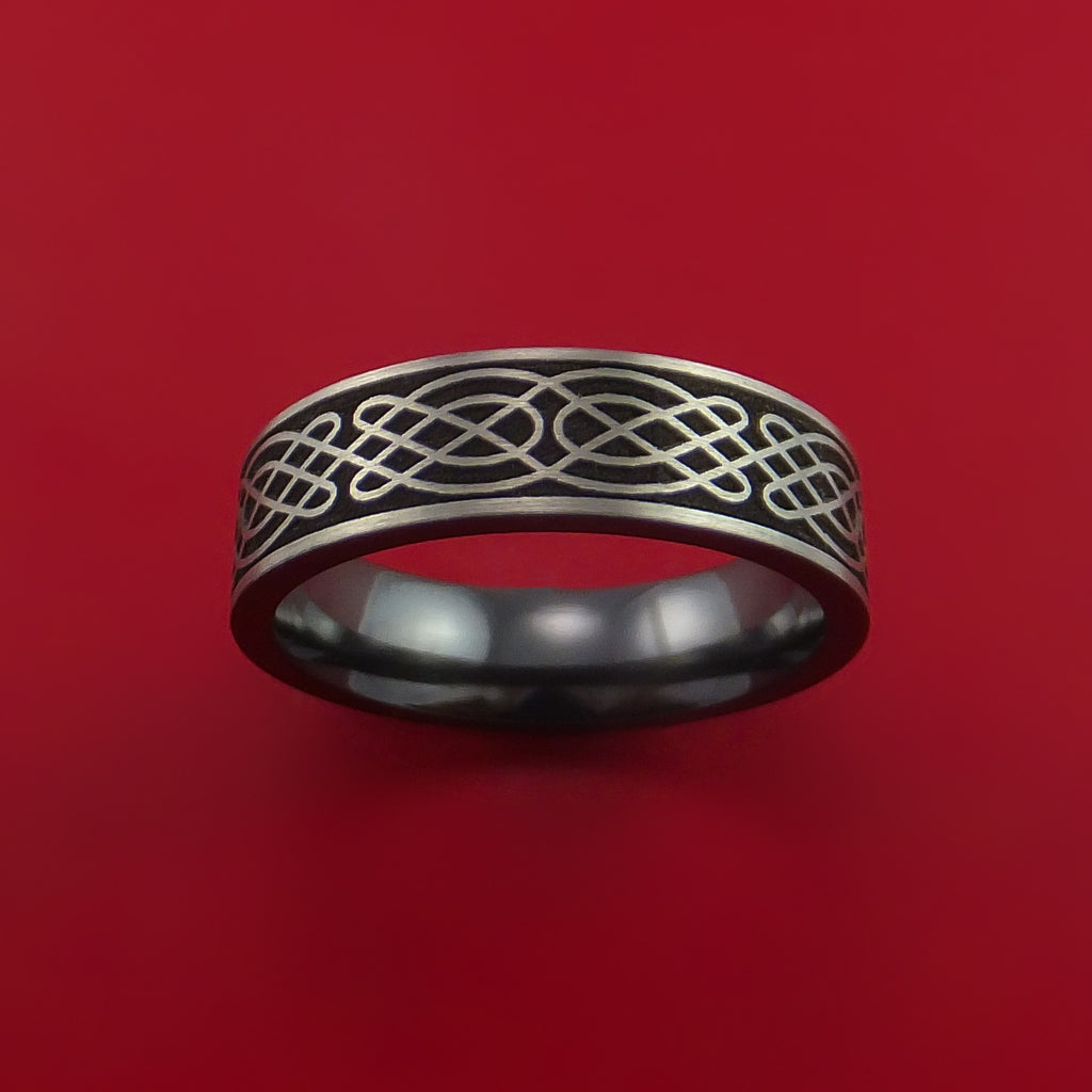 Black Zirconium Celtic Irish Knot Ring Carved Pattern Design Band Any Size Ring