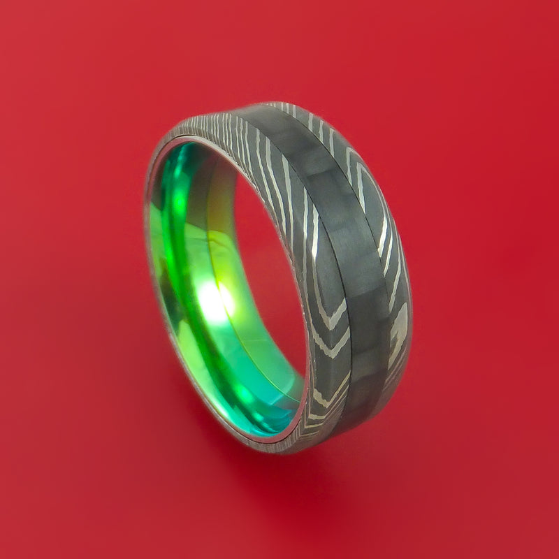 Damascus Steel and Carbon Fiber Ring Custom Made Band with Anodized Titanium Green Interior