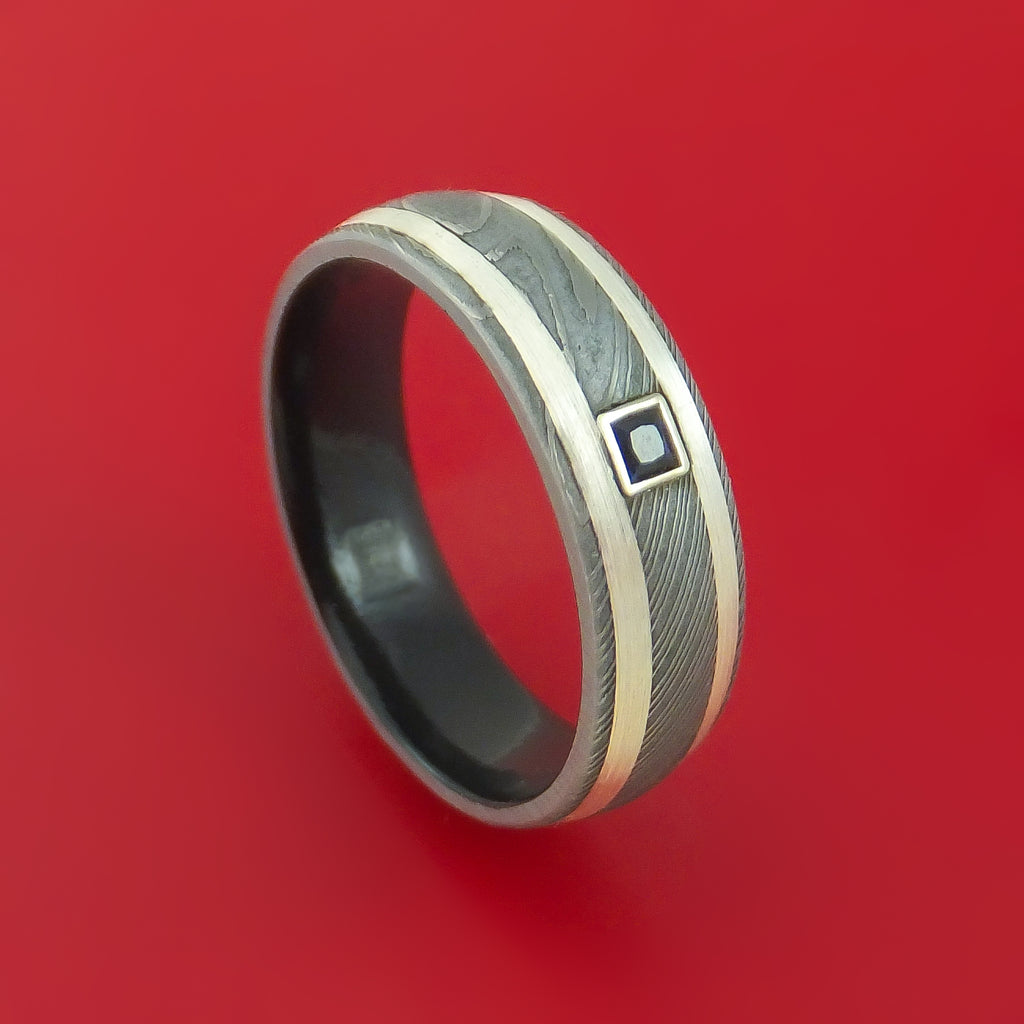 Damascus Steel and Silver Ring with Black Diamonds and Cerakote Sleeve Custom Made