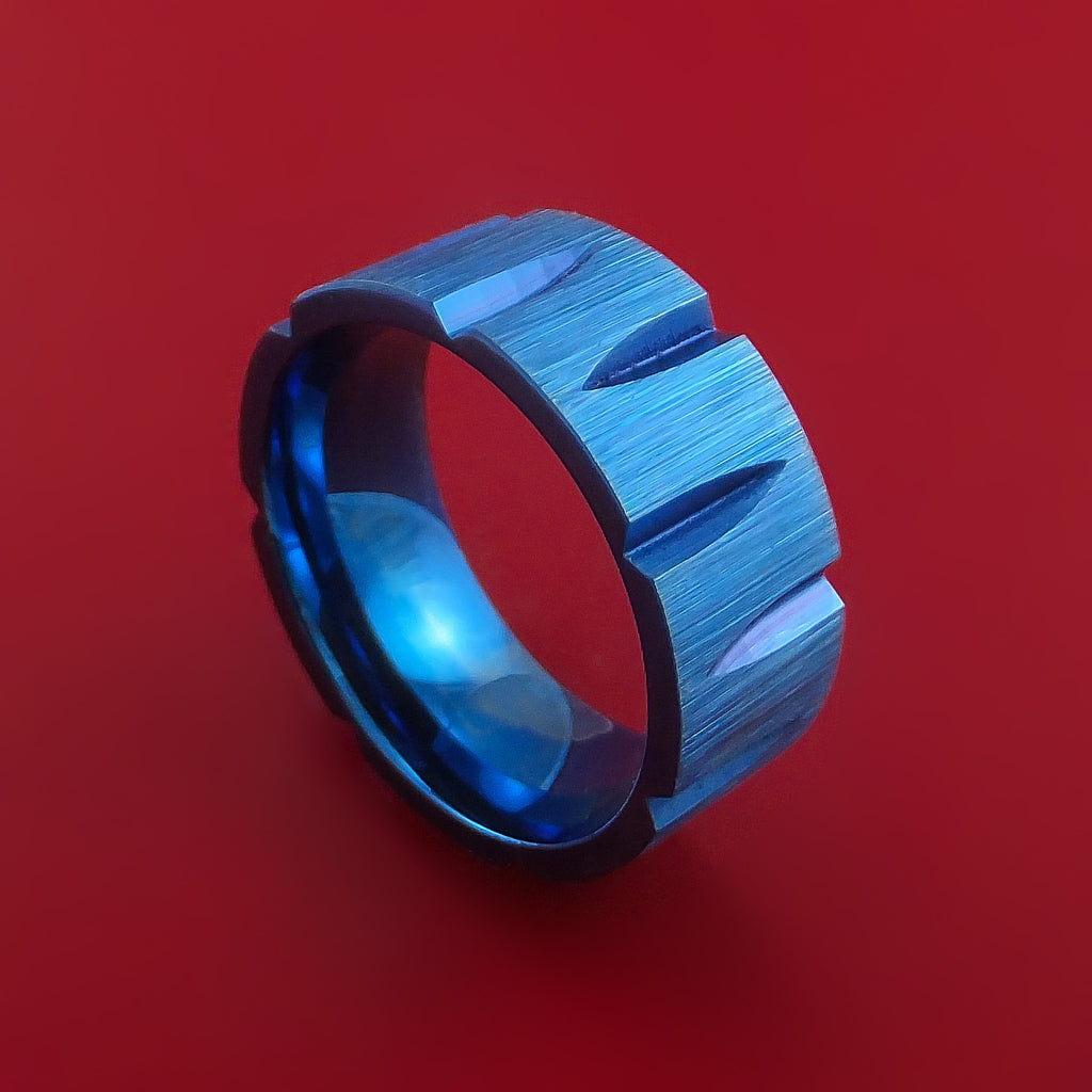 Titanium Wedge Cut Wedding Band with Blue Anodizing Ring Made to Any Size by Stonebrook Jewelry