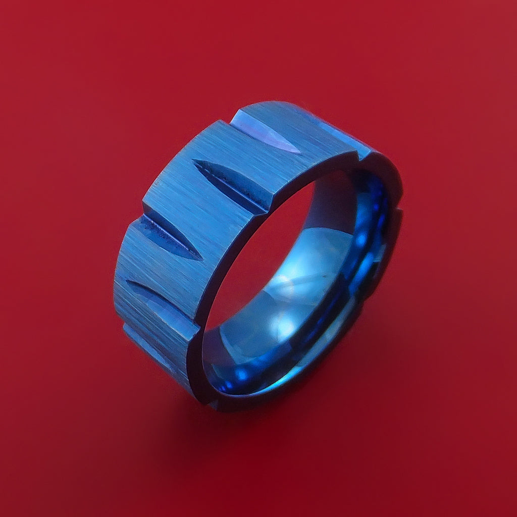 Titanium Wedge Cut Wedding Band with Blue Anodizing Ring Made to Any Size - Stonebrook Jewelry  - 2