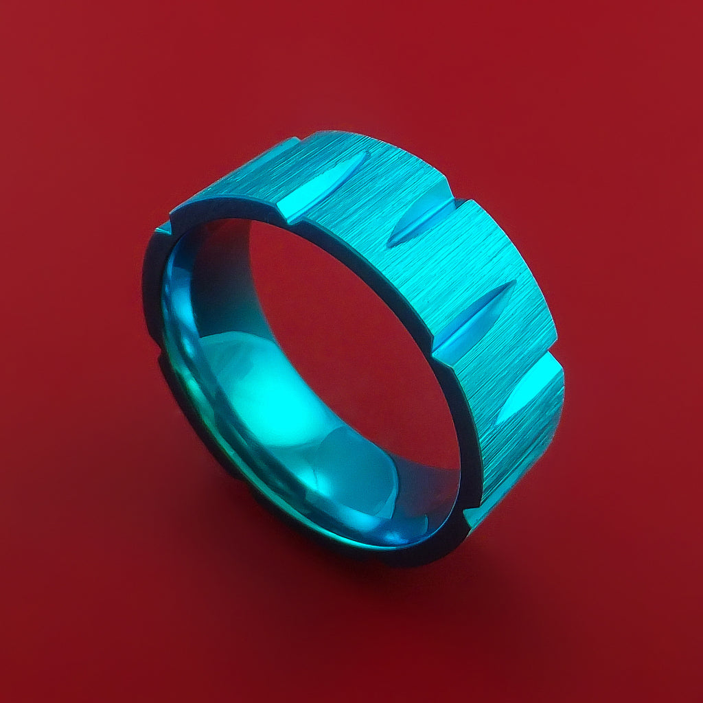 Anodized Titanium Ring with Notched Out Wedges Inlay Custom Made Band