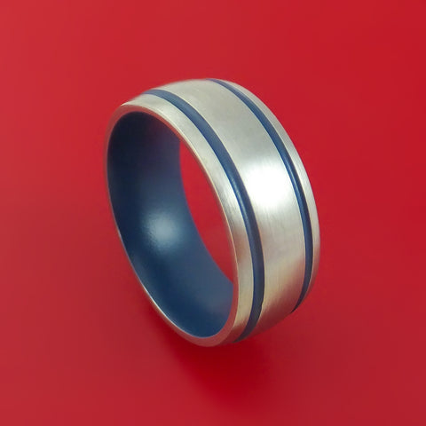 Titanium Ring with Kel-Tec Navy Blue Cerakote Grooves and Sleeve Custom Made Band