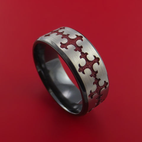 Black Zirconium Ring with Fleury Cross Red Anodized Inlay