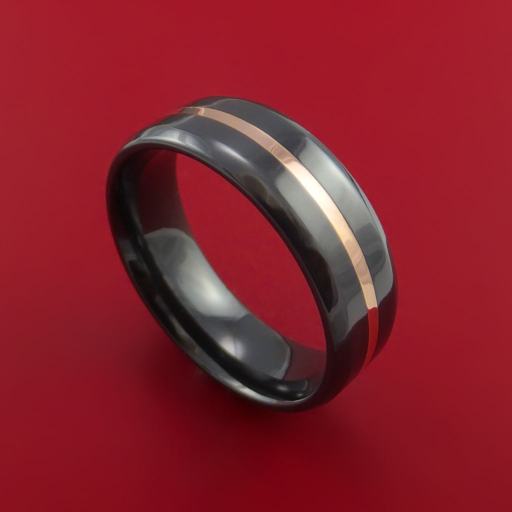 Black Zirconium Band with Rose Gold Center Inlay Custom Made by Stonebrook Jewelry