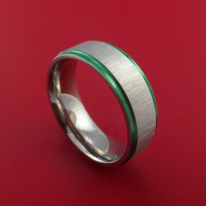 Titanium Ring with Anodized Edges Custom Made Band