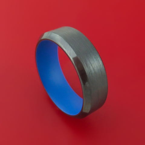 Black Zirconium Ring with NRA Blue Cerakote Sleeve Custom Made Band