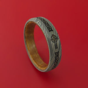 Damascus Steel Ring with Cross Etched Celtic Design Inlay and Interior Hardwood Sleeve Custom Made Band