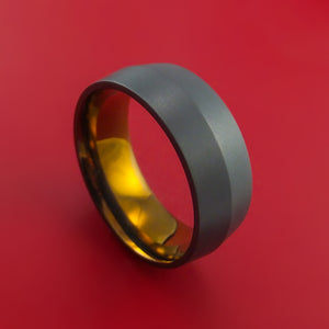 Black Zirconium Peaked Ring with Bronze Anodized Center Custom Made Band