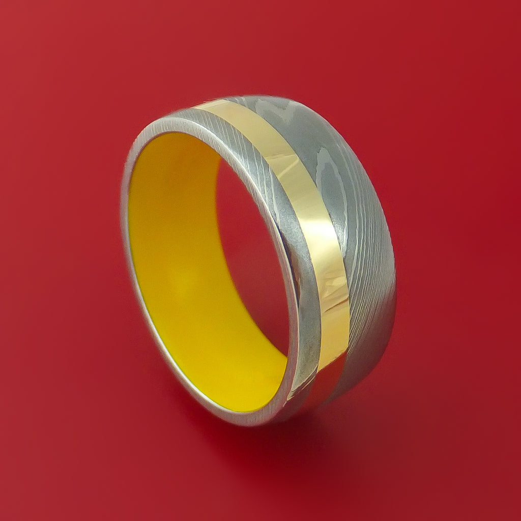Damascus Steel Ring with 14k Yellow Gold Inlay and Interior Cerakote Sleeve Custom Made Band
