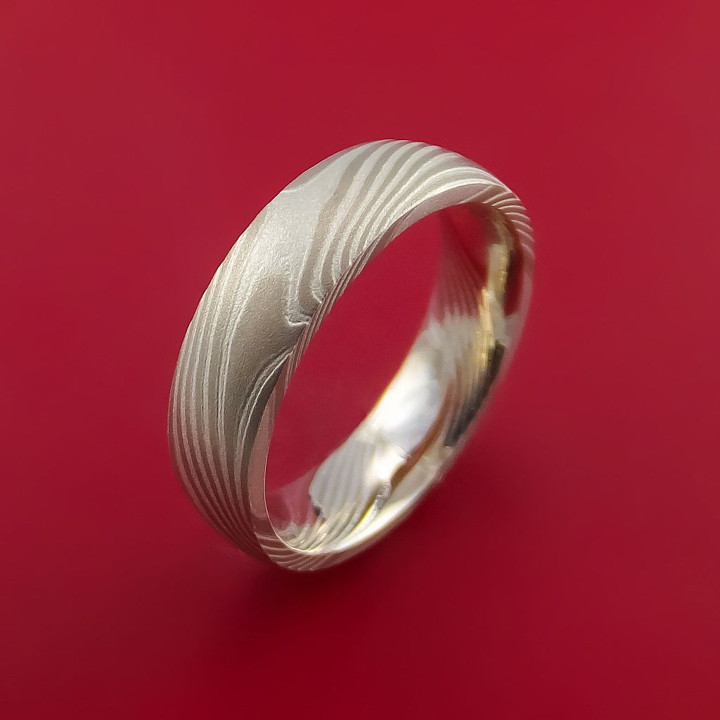 Mokume Palladium And Sterling Silver Ring Solid Ring