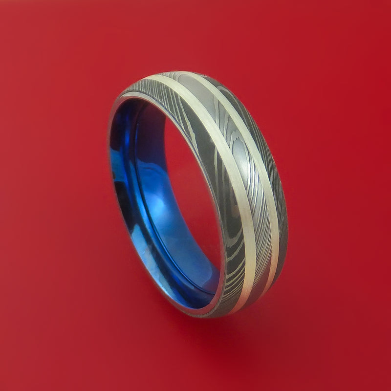 Damascus Steel Ring with Sterling Silver Inlay and Interior Anodized Titanium Sleeve Custom Made Band
