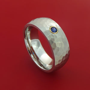 Hammered Cobalt Chrome with Sapphire and 14k Yellow Gold Bezel Custom Made