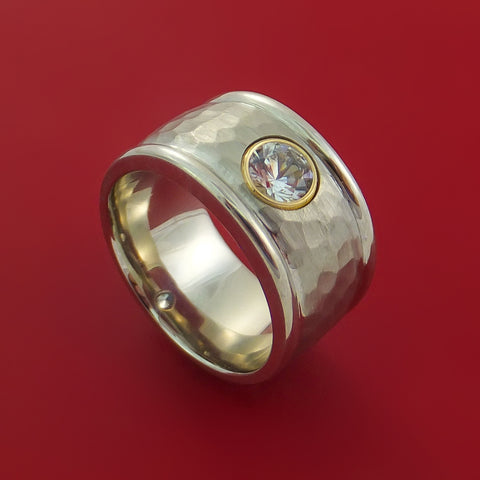 14K White Gold Band with Sapphire and Hammer Finish Custom Made Ring by Stonebrook Jewelry