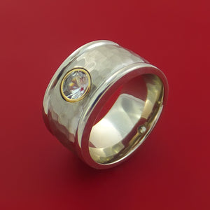 14K White Gold Band with Sapphire and Hammer Finish Custom Made Ring