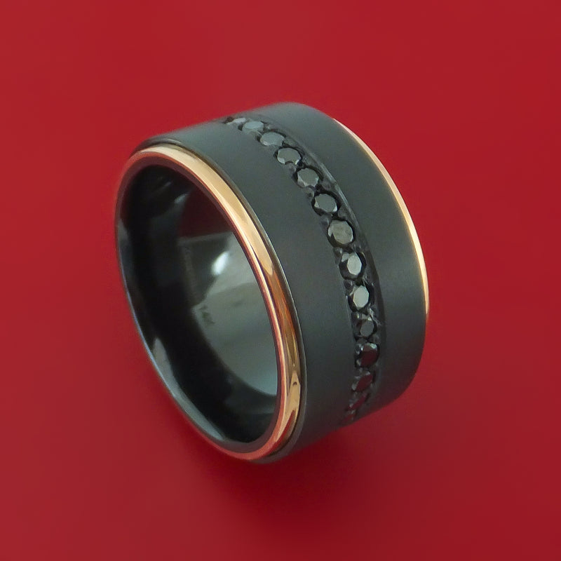 Wide Black Zirconium Ring with Black Diamonds and 14k Rose Gold Edges Custom Made Band