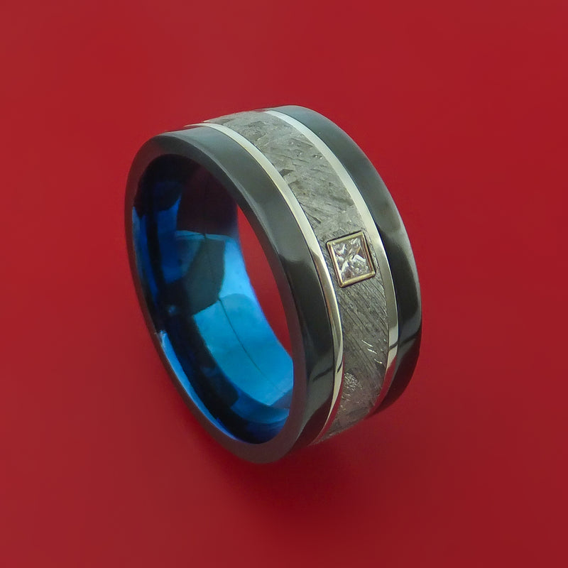 Black Zirconium Ring with Gibeon Meteorite and Platinum Inlays Diamond and Interior Anodized Sleeve Custom Made Band
