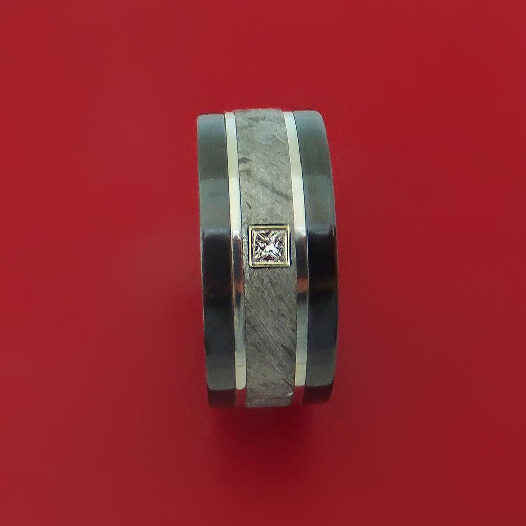 Black Zirconium and Gibeon Meteorite Ring with Diamond and Platinum Inlays with Anodized Sleeve Custom Made Band