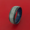 Black Zirconium Hammered Ring with Gibeon Meteorite Inlay and Wood Sleeve Custom Made