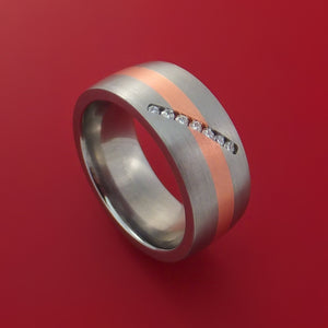 Titanium Ring with 14K Rose Gold and Diamond Setting Band